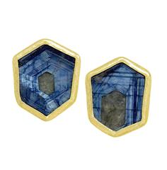 Petra Class One of a Kind Blue Sapphire Gold Hexagonal Stud Earrings