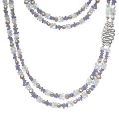 Tanzanite Blue Moonstone Bead Pink Tone Silver Pearl Long Double Strand Necklace
