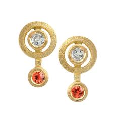 White Diamond Orange Sapphire Satin Gold Handmade Stud Earrings