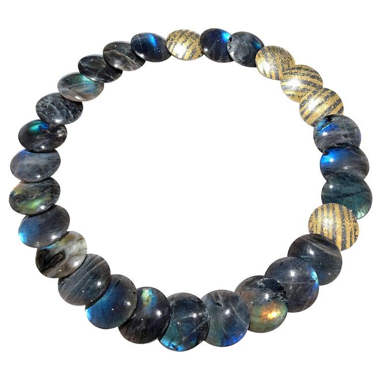 Atelier Zobel Spectrolite Labradorite Diamond Gold Silver Disc Necklace For Sale