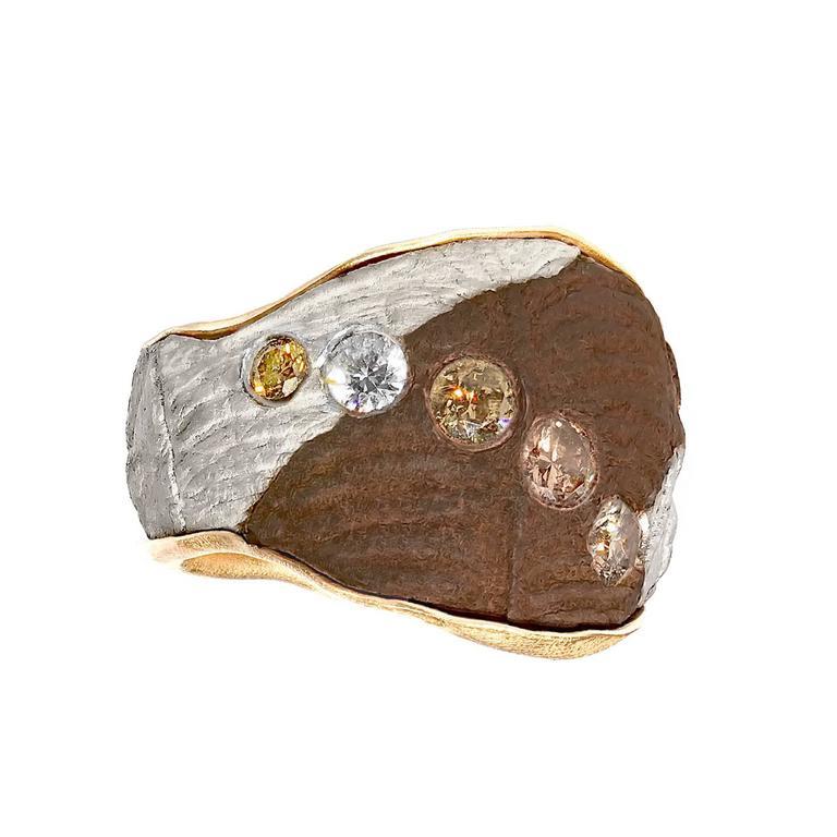 Five Multicolored Diamond Gold Silver Copper Mokumegane Unique Band Ring 1