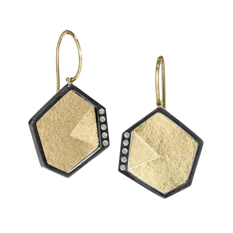 Ideal Cut White Diamond Gold Oxidized Silver Intricate Texture Drop Earrings