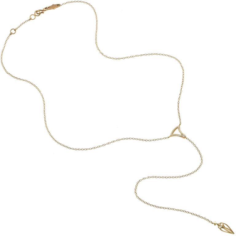White Diamond Motif Matte Gold Open Cage Lariat Handmade Drop Necklace 2