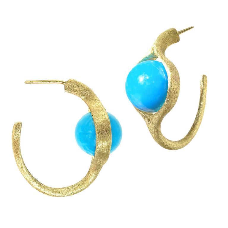 Joseph Murray Spinning Blue Turquoise Sphere Satin Gold Handmade Hoop Earrings For Sale