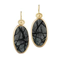 Monica Marcella Matched Steel Gray and Black Natural Jasper Drop Earrings