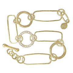 White Diamond Circle Gold Handmade Multi Link Bracelet