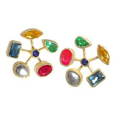 Petra Class Ruby Sapphire Pearl Tourmaline Citrine Topaz Handmade Stud Earrings