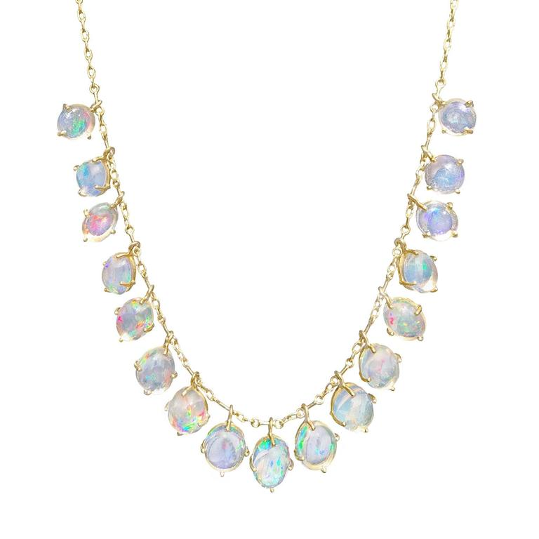 Glowing Mexican Opal Matte Gold Dangling Demi Fringe Handmade Necklace