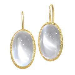 Devta Doolan Exceptional Matched Cat's-Eye Silver Burmese Moonstone Earrings