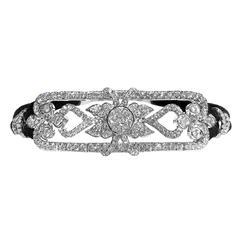 1.40 Carat Brilliant Cut White Diamond White Gold Black Cord Bracelet