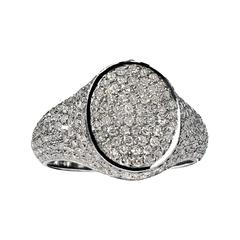 Shimmering 1.05 Carat Diamond Signet Rhodium Silver Ring