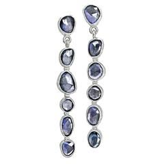 Petra Class One of a Kind Faceted Violet Blue Sapphire White Gold Drop Earrings