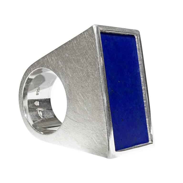 Erich Zimmermann Modernist Lapis Lazuli Silver One of a Kind Blocks Ring
