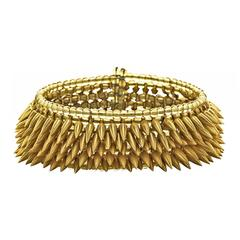 Matte Gold-Plated Beads Citrine Glass Intricate Flexible Bullet Cuff Bracelet