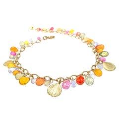 Barbara Heinrich Multicolored Sapphire Faceted Briolette Gold Petals Bracelet
