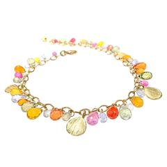 Barbara Heinrich Multicolored Sapphire Faceted Briolette Gold Petals Bracelet