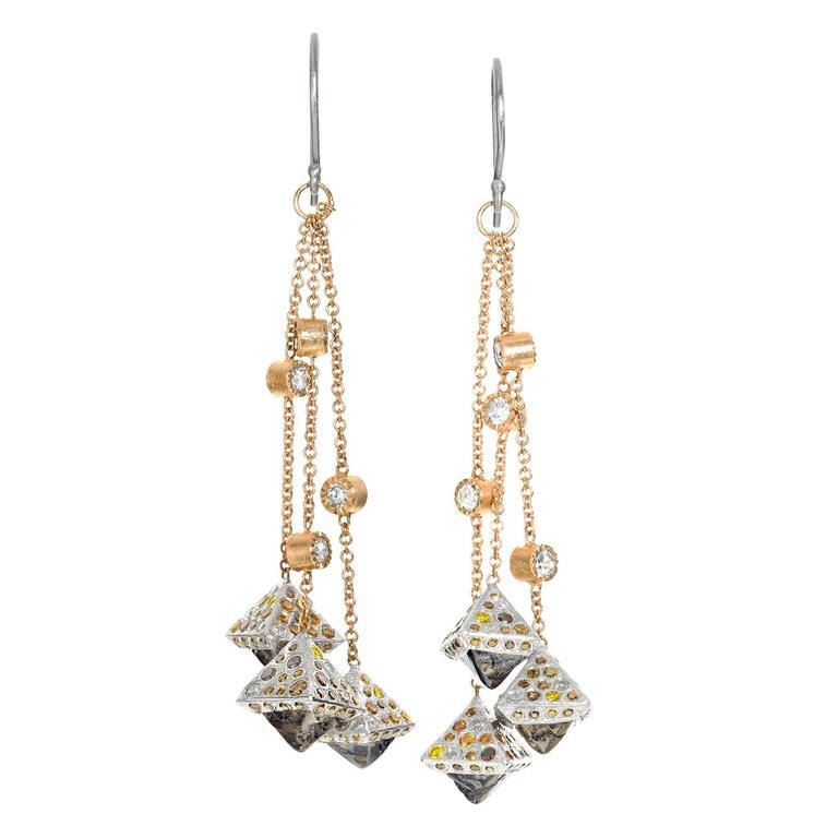 Todd Reed Octahedron Autumn White Diamond Gold Palladium One of a Kind Earrings