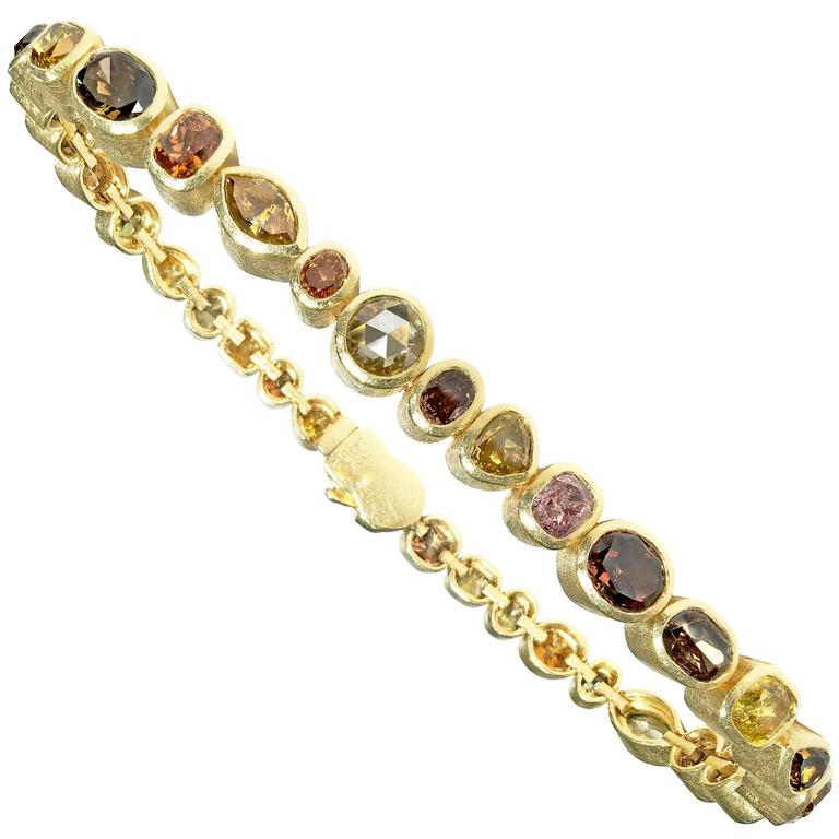 5d928c92f9ff99 Todd Reed One of a Kind 9.18 Carat Natural Fancy Diamond Gold Eternity  Bracelet For Sale