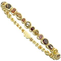Todd Reed One of a Kind 9.18 Carat Natural Fancy Diamond Gold Eternity Bracelet