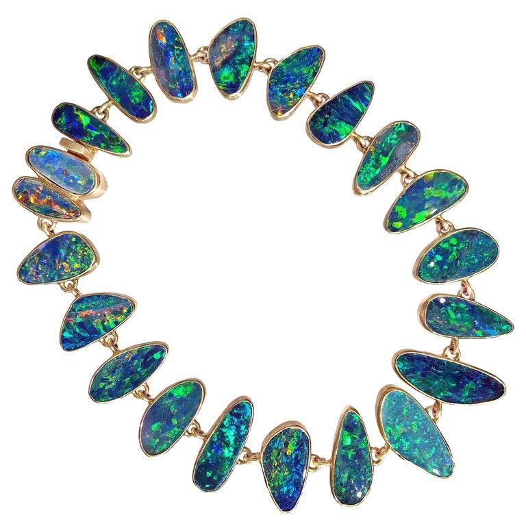 Kothari Electrifying Boulder Opal Matte Gold One of a Kind Link Bracelet For Sale
