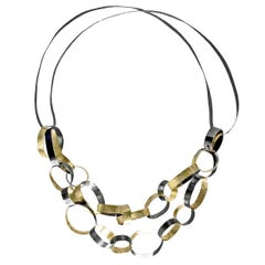 Reiko Ishiyama Linked Rings Oxidized Silver Yellow Gold Handmade Necklace