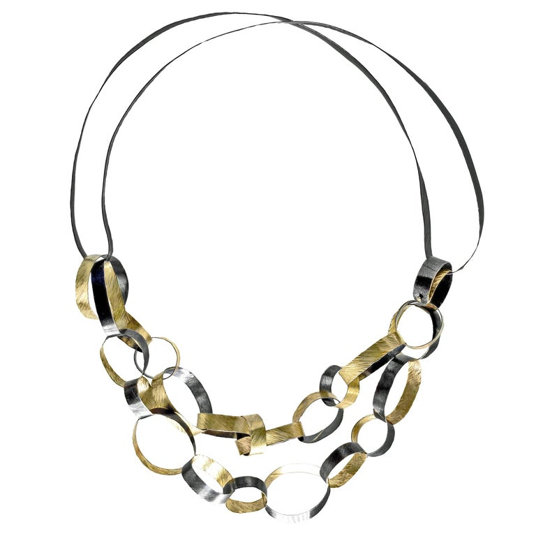 Reiko Ishiyama Linked Rings Oxidized Silver Yellow Gold Handmade Necklace For Sale