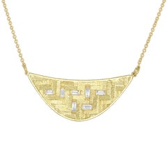 White Diamond Baguette Crescent Parquet Yellow Gold Necklace
