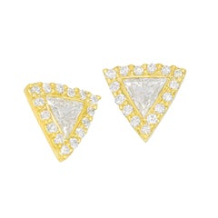 Kothari White Diamond Trigon Stud Earrings