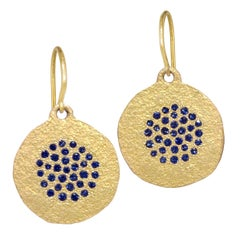 Devta Doolan Fine Blue Sapphire Sprinkle Coin Drop Earrings