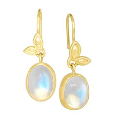 Monica Marcella Rainbow Moonstone Double Leaf Gold Dangle Drop Earrings