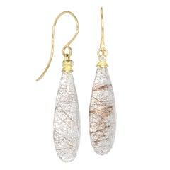 Barbara Heinrich Rutile Quartz Faceted Briolette Diamond Dangle Drop Earrings