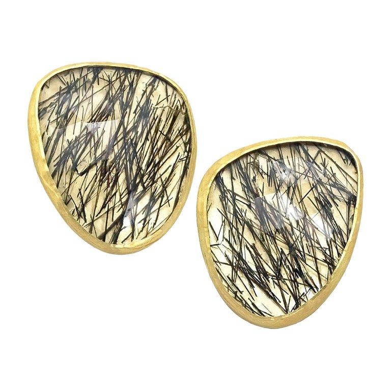 Petra Class Faceted Black Tourmaline Quartz Gold Wing Stud Earrings