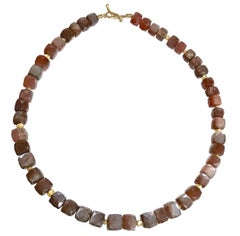 Barbara Heinrich Faceted Glowing Burgundy Moonstone Cube Gold Spacer Necklace