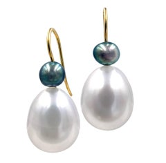 Devta Doolan White South Sea Pearl and Tahitian Pearl Gold Drop Earrings