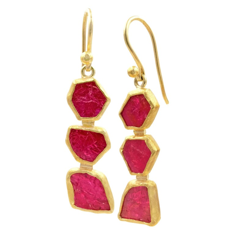 Petra Class One of a Kind Ruby Crystal Dangle Drop Earrings 1