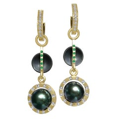 Robin Waynee Tahitian Pearl Tsavorite Diamond Detachable Gold Drop Earrings