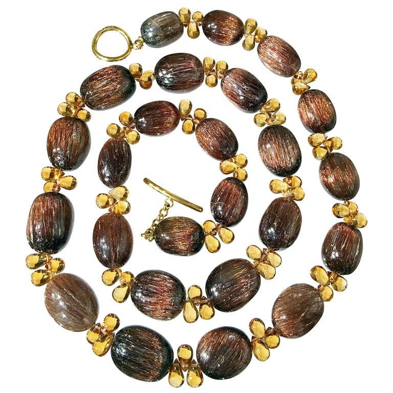 Joseph Murray One of a Kind Rutilated Quartz Egg Citrine Briolette Gold Necklace