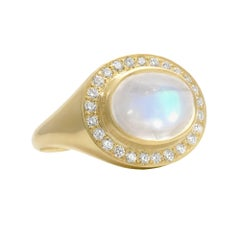Kothari One of a Kind Oval Rainbow Moonstone White Diamond Crown Ring