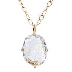 Erich Zimmermann Golden Rutilated Quartz White Diamond Rose Gold Long Necklace