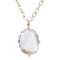 Erich Zimmermann Golden Rutilated Quartz White Diamond Rose Gold Long Necklace