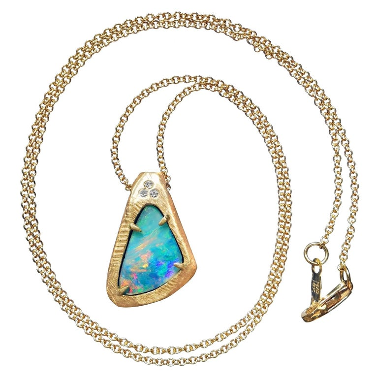 One of a Kind Boulder Opal White Diamond Gold Pendant Necklace