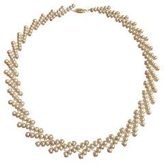 Estyn Hulbert Champagne Pearl Ascending Ribbon Necklace