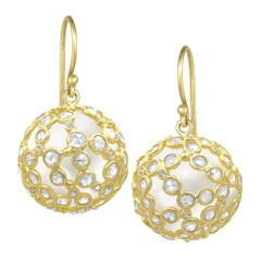 Kothari Brilliant and Rose-Cut Diamond Wrapped Rock Crystal Sphere Drop Earrings