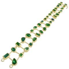 Petra Class One of a Kind Green Tourmaline Double Row Segments Bracelet