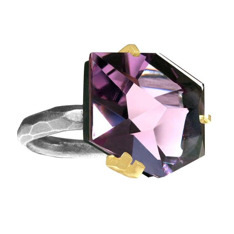Elizabeth Garvin Custom Cut Amethyst Gold Oxidized Silver Ring For Sale