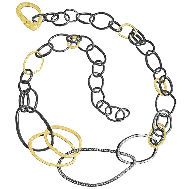 Todd Reed White Diamond Signature Gold Patina Silver Elemental Links Necklace