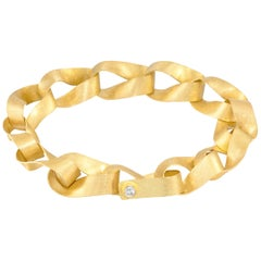 Petra Class White Diamond Gold Spiral Wrap Handmade Link Bracelet