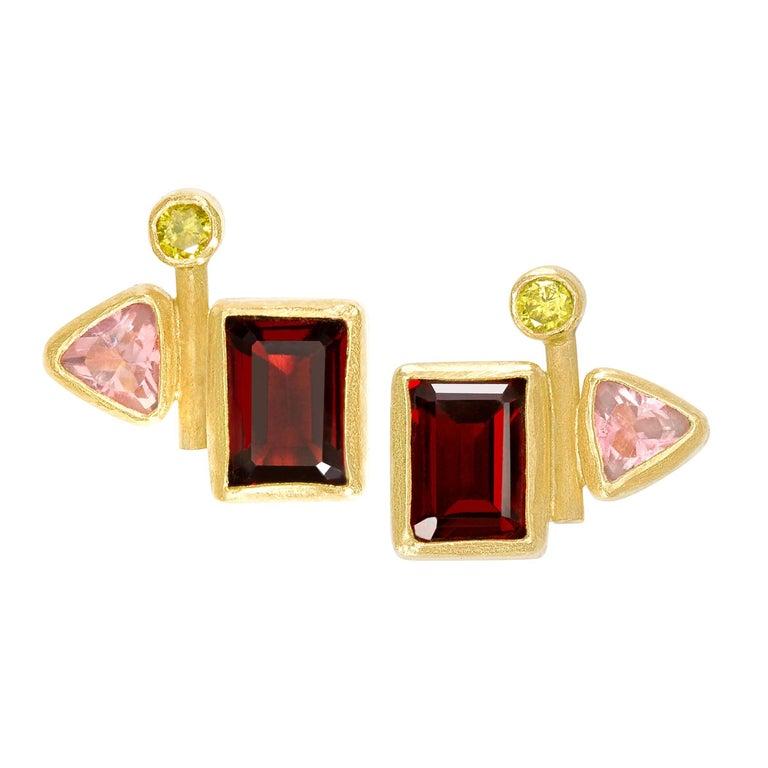 Petra Class One of a Kind Canary Diamond Pink Tourmaline Garnet Stud Earrings