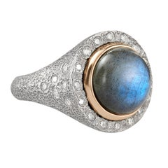 Rona Fisher Labradorite Dome Rose Gold White Diamond Hammered Silver Ring