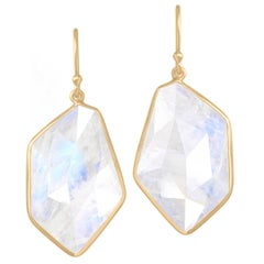 Kothari One of a Kind Geometric Faceted Moonstone Dangle Drop Earrings
